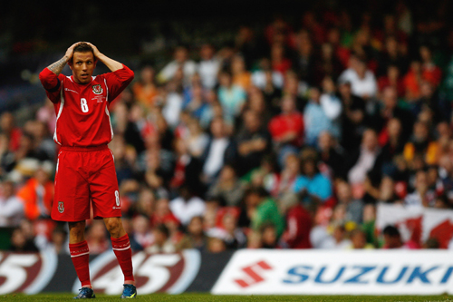 Craig Bellamy of Wales misses his side's third consecutive penalty against Liechtenstein [GALLO/GETTY]