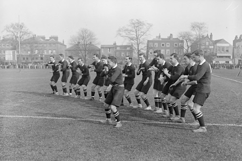 April 1916: As war rages in Europe, the All Blacks perform a gentlemanly Haka against South Africa in England [GALLO/GETTY]