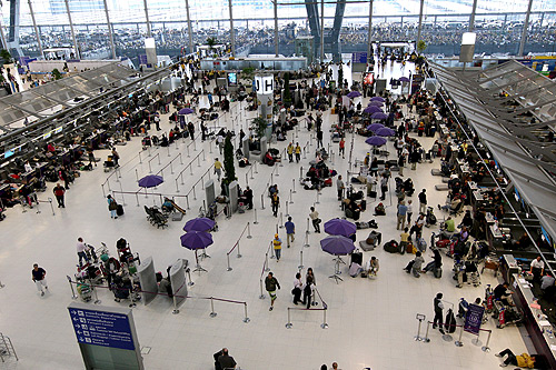 Thailand's main international airport was forced to shut down on Wednesday a day after anti-government protesters stormed the facility. [EPA]