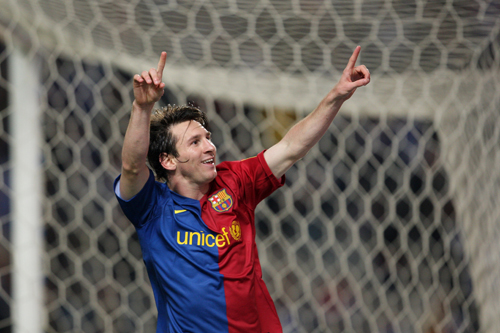Lionel Messi celebrates his winner for Barca in the city derby with Espanyol [GALLO/GETTY]