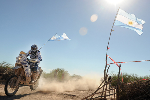 David Casteu of France steers his KTM during the seventh stage of the rally [AFP]