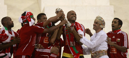 January sees football's Gulf Cup tournament staged in the Sultanate of Oman, whose team beat Saudi Arabia on penalties to take the trophy [AFP]