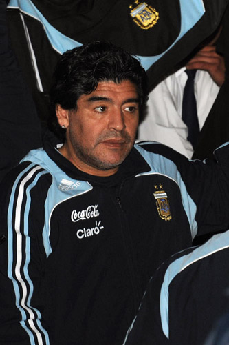 Diego Maradona arrives in Montevideo as Argentina need a win against Uruguay to guarantee a place in South Africa [AFP]