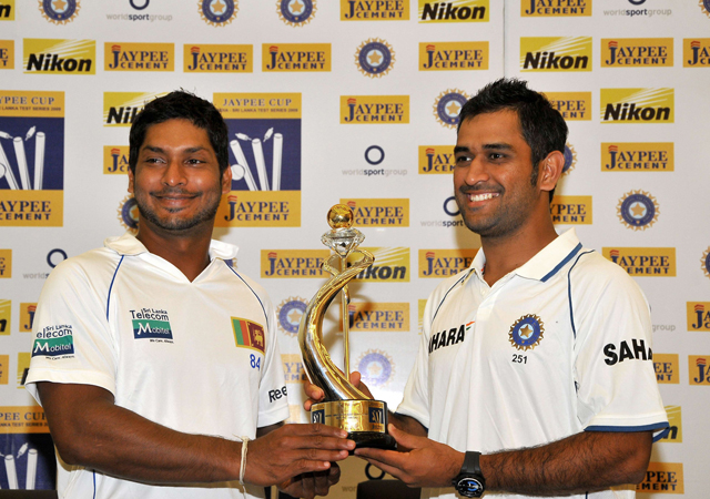 Sri Lanka captained by Kumara Sangakkara, left, are in India for a three match test series with Mahendra Singh Dhoni's hosts [AFP]