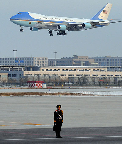 Barack Obama is in China for a three-day visit, his longest stop on a four-nation tour of Asia and seen as a sign of the importance his administration places on improved relations with Beijing [AFP]