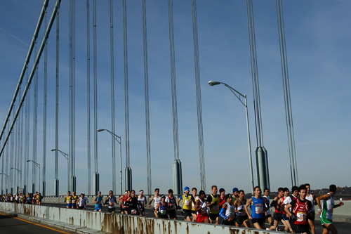 Runners enjoy the view from the Verrazano-Narrows Bridge at the New York marathon [GALLO/GETTY]