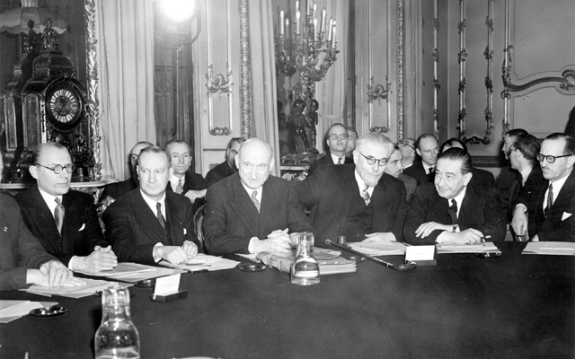 Robert Schuman, the French foreign minister and an early pioneer of the European ideal, proposed in 1950 that France, Germany, and any other European country wishing to join, pool coal and steel resources. The result in 1951 was the Treaty of Paris signed by the Six (Belgium, France, Germany, Italy, Luxembourg, Netherlands), establishing the European Coal and Steel Community (ECSC) [GALLO/GETTY]