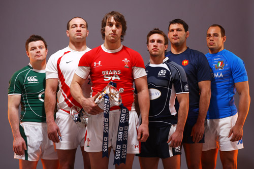 Do we have to do this? The Six Nations captains line up with the trophy [GALLO/GETTY]