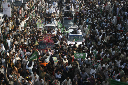 Nawaz Sharif, the leader of Pakistan's main opposition party, is leading a march towards the capital Islamabad [AFP]