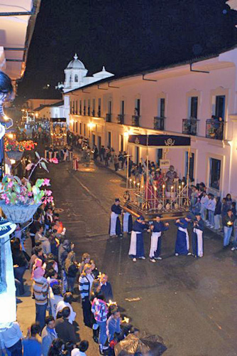 "The events leading to Jesus' death have been remembered in Popayan, Colombia for more than 450 years with processions featuring ""pasos"", decorated with saints and other religious figures in Popayan's historic area."