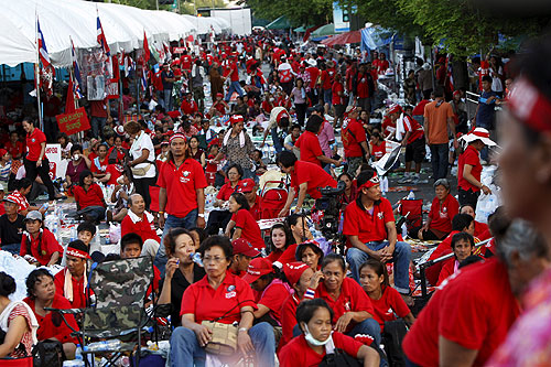 Thousands of red-shirted protesters, who for weeks had besieged the prime minister's office in Bangkok, ended their protest on Tuesday [EPA]
