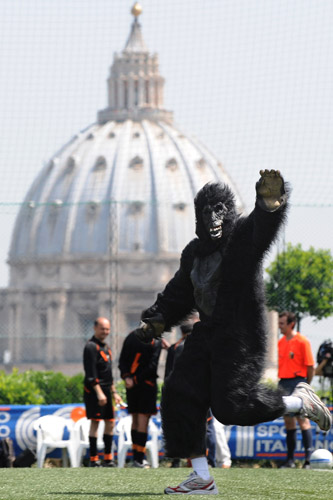 The Clericus Cup final in the Vatican City gets a visit from King Kong [AFP]