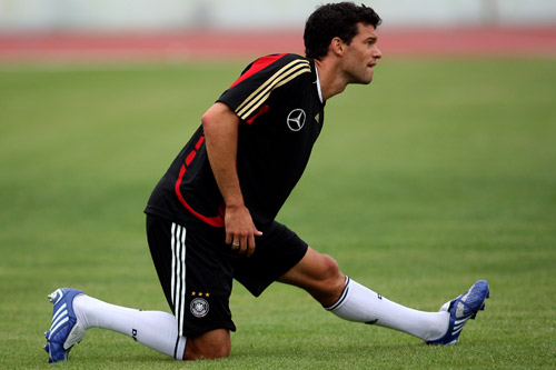 Michael Ballack gives his hamstring a workout ahead of a Germany training session [GALLO/GETTY]