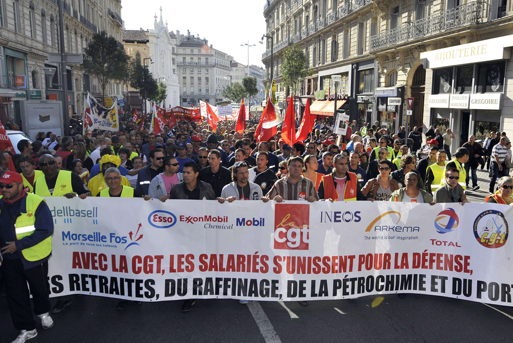 French unions have staged another major strike over plans to raise the retirement age [AFP]