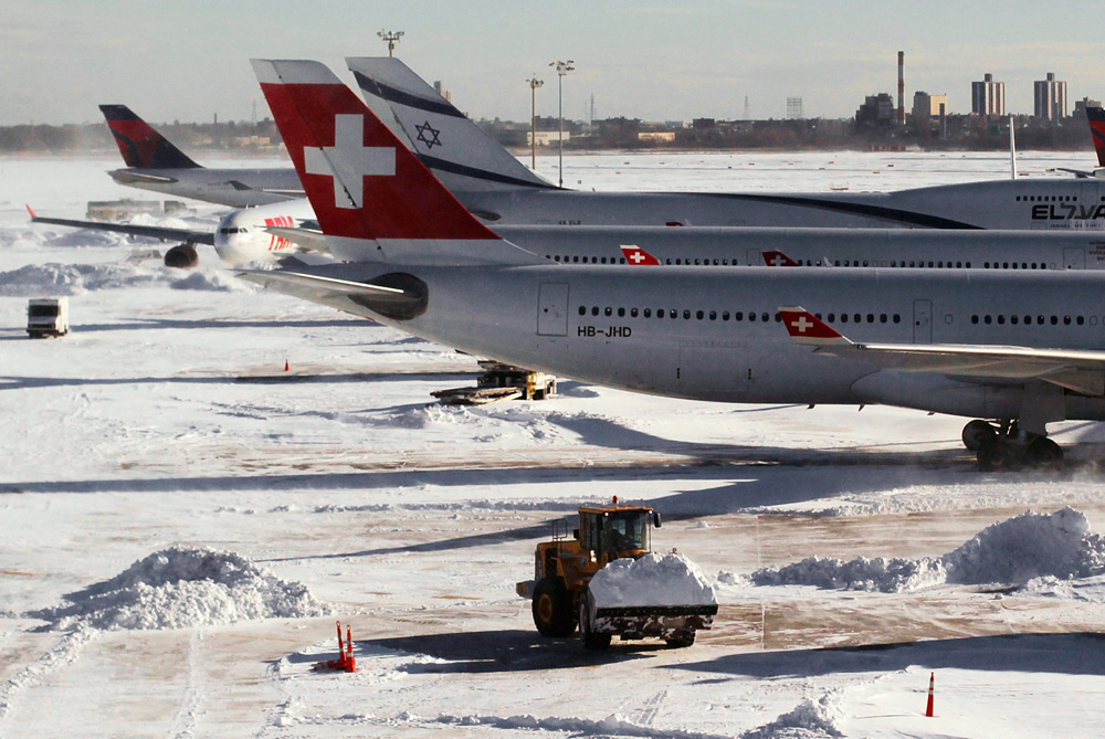Northeastern US has been in the grip of freezing weather since a blizzard forced the shutdown of all three of New York(***)s major airports for 24 hours on Sunday, causing a ripple effect throughout the country [GETTY]