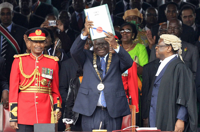 Kenya's new constitution was promulgated in 2010 which will be the basis on  the governance of the country [Reuters]