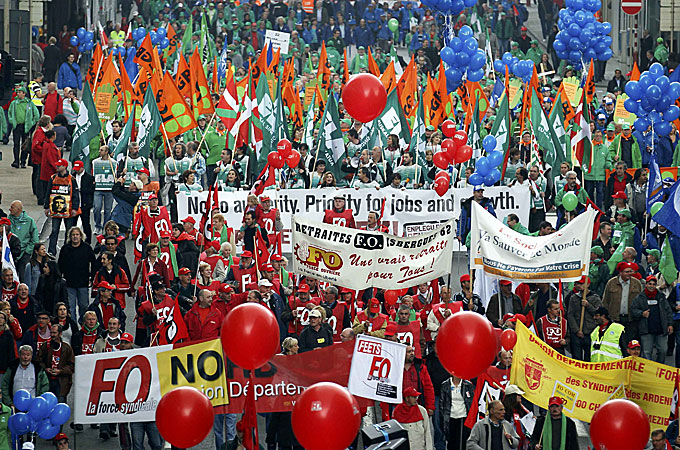 Thousands of workers have staged strikes and protests across Europe in reaction to tough spending cuts introduced to remedy public deficits [Reuters]