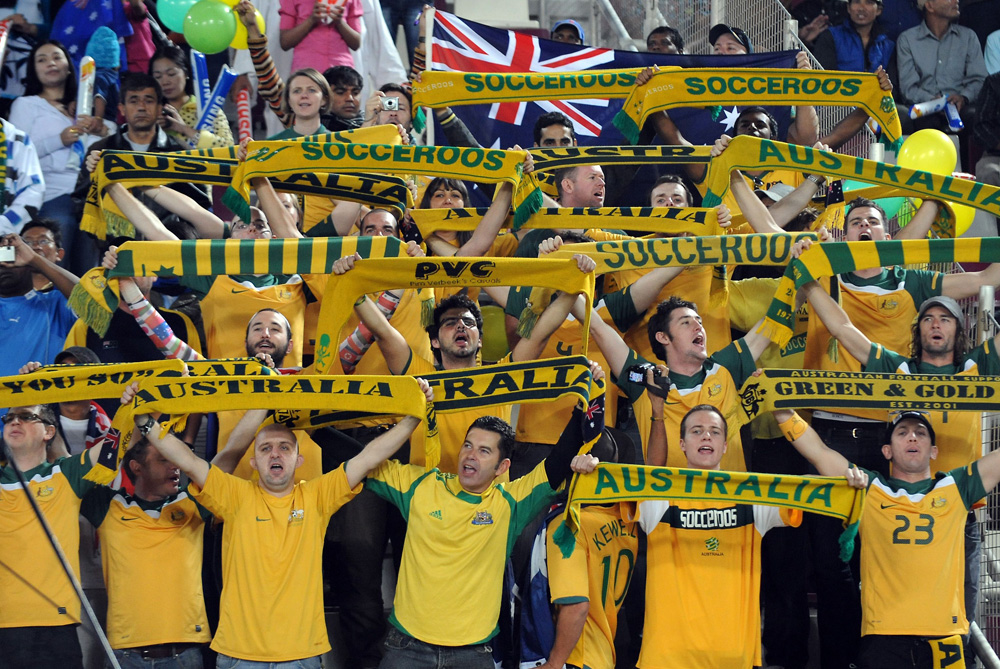 Australia fans cheer on their side as the Socceroos take on Japan in their first Asian Cup final [AFP]