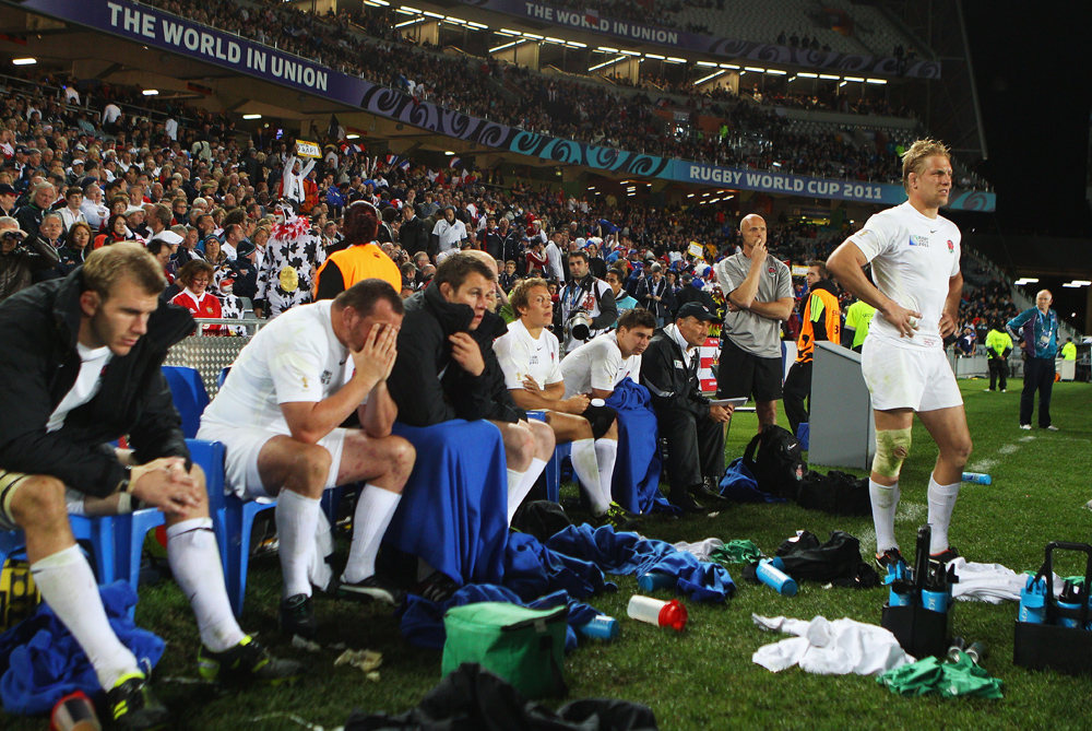 The party came to an early end for England when they were knocked out during the quarter-finals by France. Martin Johnson(***)s men failed to reach their peak at the tournament after two successful World Cups in 2003 and 2007 [GALLO/GETTY]