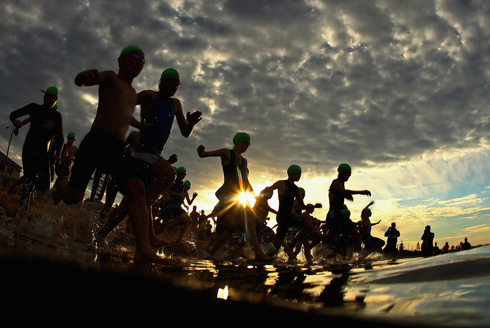 In the same week that Australia(***)s Gold Coast was awarded the 2018 Commonwealth Games, athletes enter the water at Melbourne(***)s Brighton Triathlon [GALLO/GETTY]