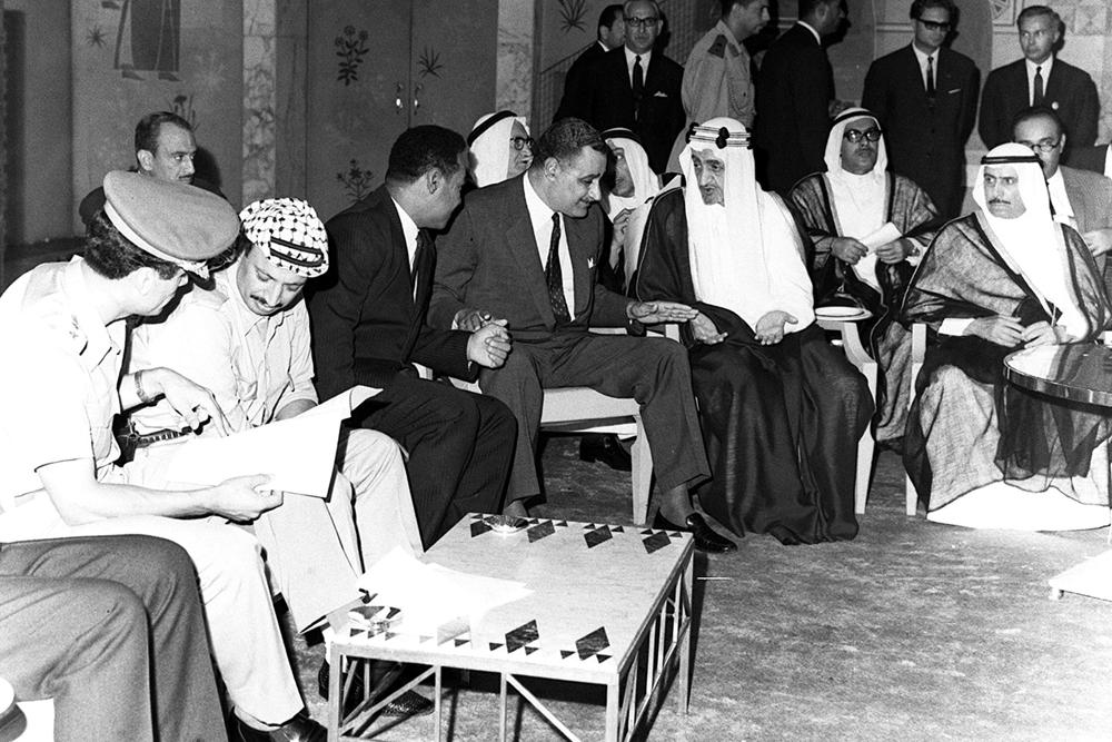 From left to right Muammar Gaddafi Palestinian Liberation Organisation leader Yasser Arafat Sudanese President el-Nimeiri Egyptian president Gamal Abdel ...  sc 1 st  Al Jazeera & In Pictures: A look back at Gaddafiu0027s reign | News | Al Jazeera