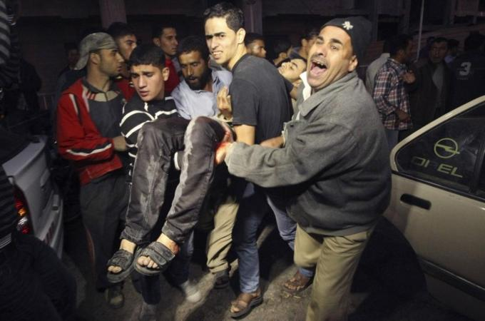 Ambulances and private vehicles rushed at least 25 wounded Palestinians to Gaza City's al-Shifa hospital