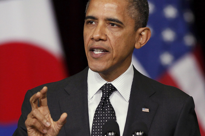 Obama spoke sternly against North Korea and Iran regarding nuclear technology development