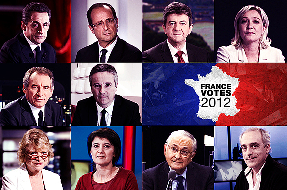 The candidates for France's presidential election rom top left: Sarkozy, Hollande, Mélenchon, Le Pen, Bayrou, Cheminade, Joly, Arthaud, Dupont-Aignan, Poutou [AFP]