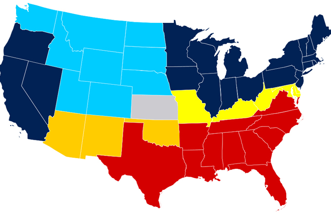 The United States A House Divided US Canada Al Jazeera - Red blue maps of the us