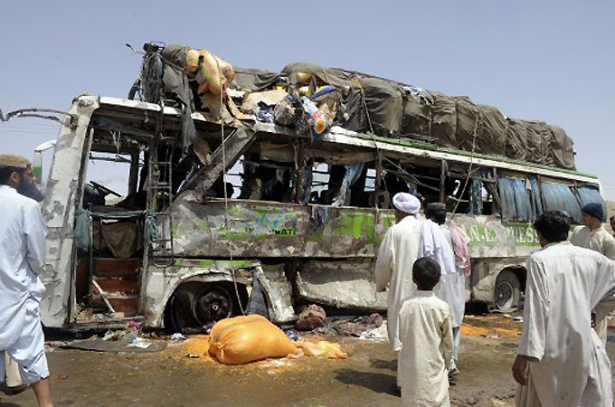 Officials said a passenger bus carrying pilgrims to Shia holy sites had passed the motorbike shortly before blast