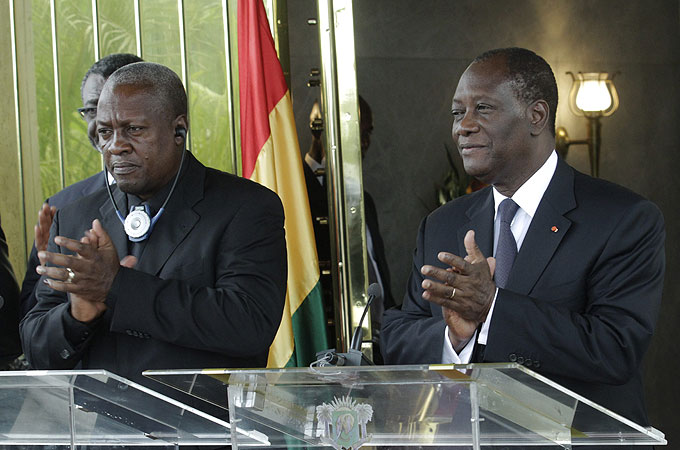 Ghana's President John Dramani Mahama, left, said his country would not be used as a base for rebel operations