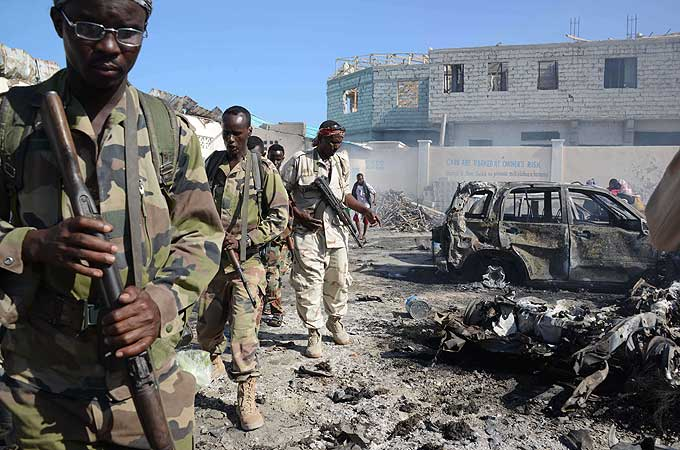 Local government headquarters and emergency responders targeted in Galkayo, leaving at least 20 people dead.
