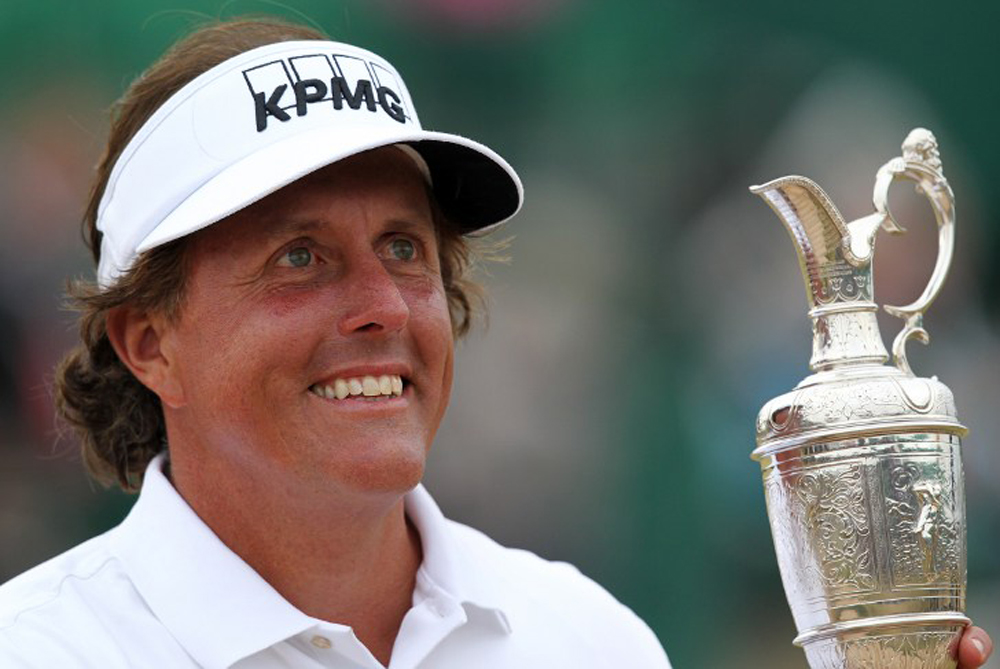 <p>With his name etched on the silver claret jug, Phil Mickelson enjoys his stunning win at the British Open: &quot;To play the best round arguably of my career, to putt better than I(***)ve ever putted, to shoot the round of my life ... it feels amazing to win the claret jug.&quot; [AFP]</p>