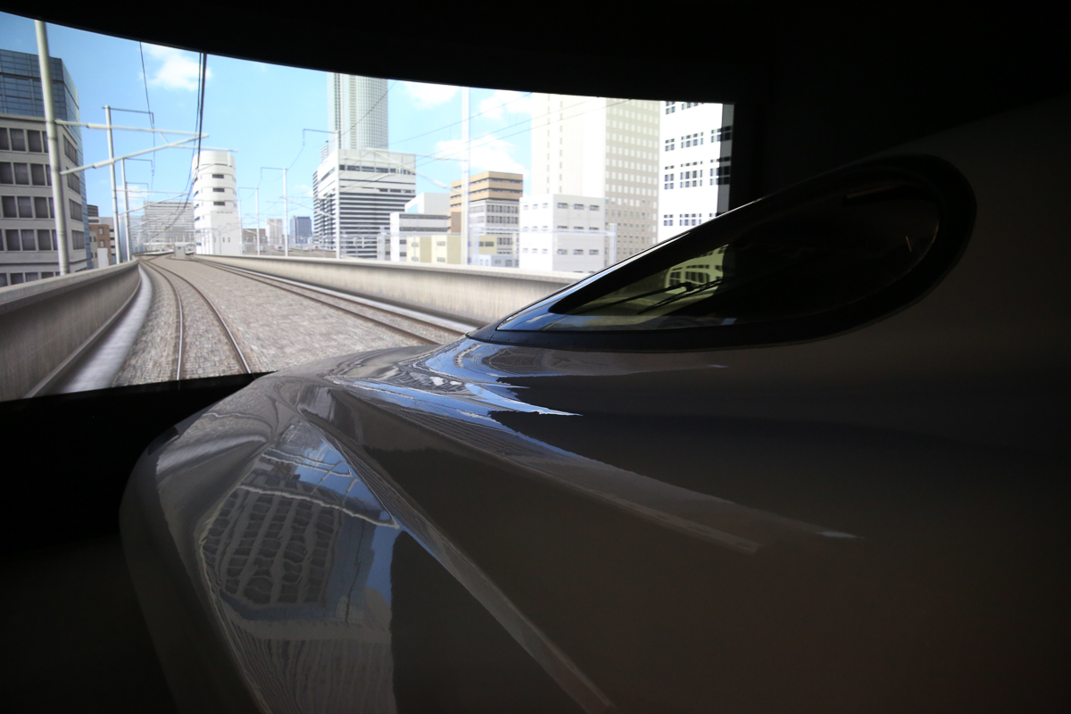 A bullet train simulator at the SCMaglev and Railway Park Museum run by JR Central in Nagoya. [Marie-Helene Carleton/Four Corners Media]