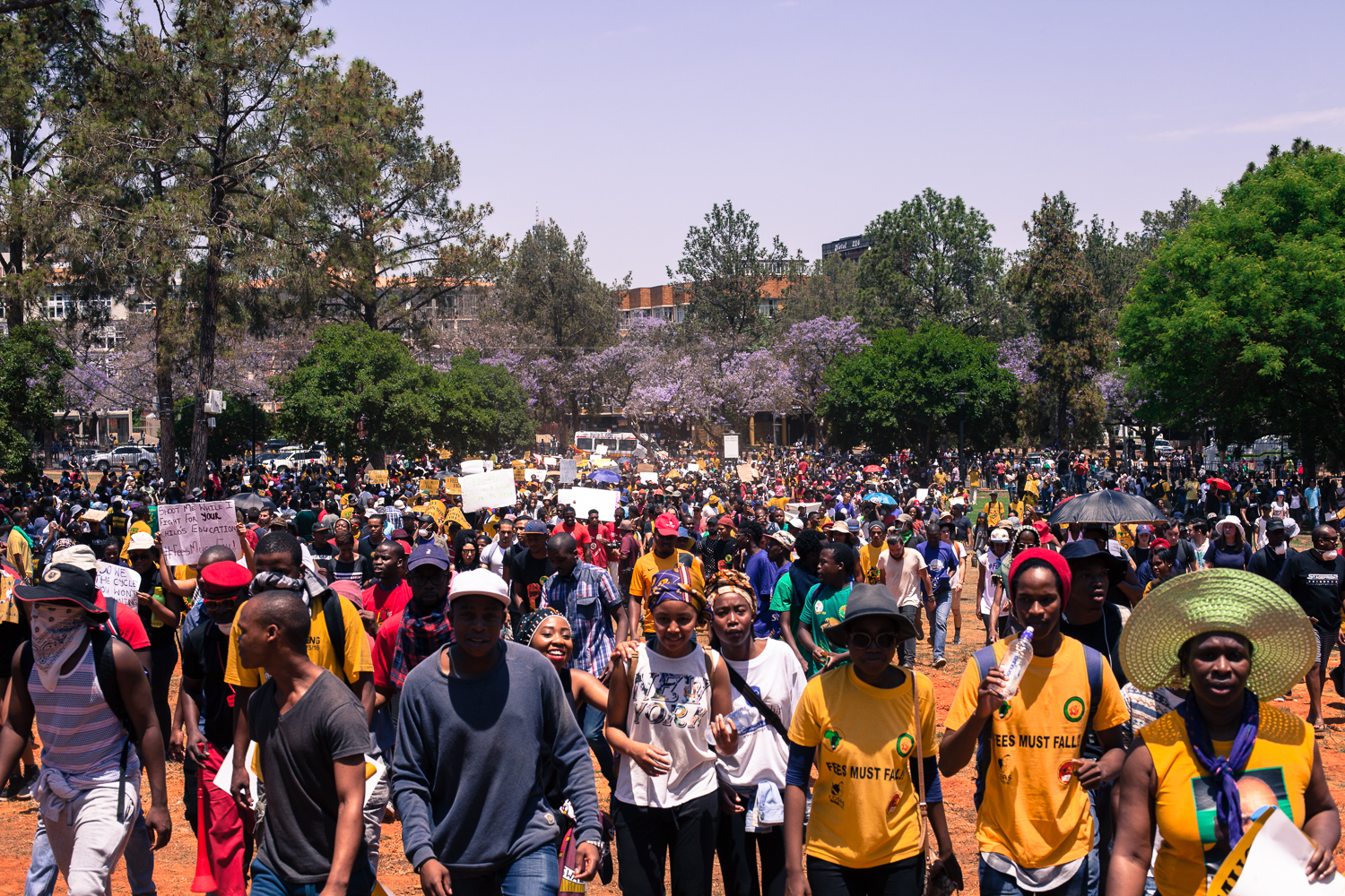 The culmination of the week-long protests by students at tertiary institutions around the country took place in South Africa's capital, Pretoria, on Friday. Many anticipated this to be a turning point in the country's 21-year-old democracy. [Aliki Saragas/Al Jazeera]