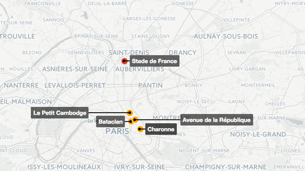 map where the paris attacks happened france al jazeera