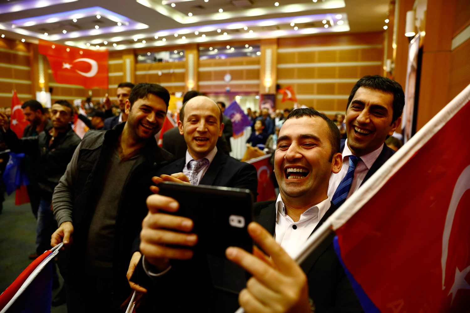 AK Party supporters celebrated victory at the party's headquarters in Istanbul until the early hours of the next day. [Huseyin Narin/Al Jazeera]