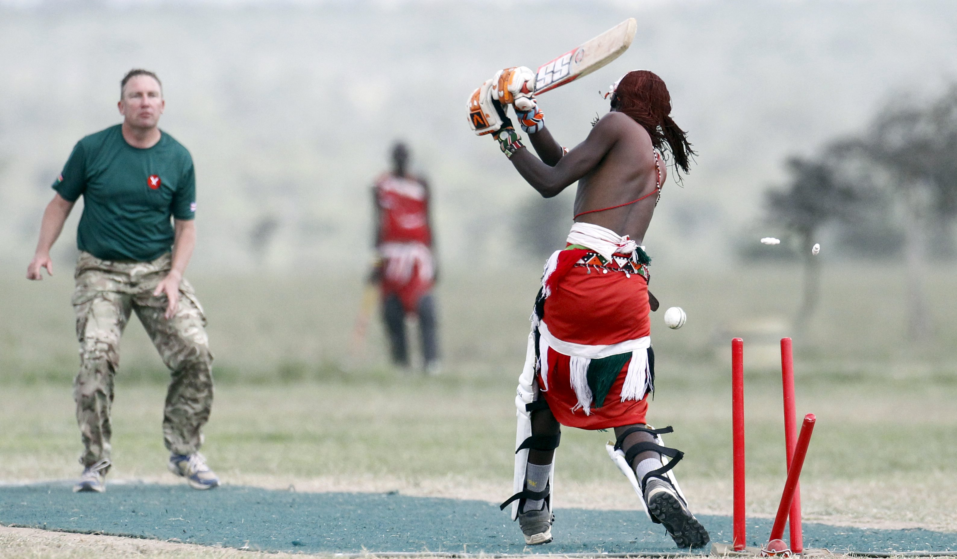 The Maasai Cricket Warriors partnered with the Australian High Commission and British Army Training Unit in Kenya to organise the charity cricket tournament. [Thomas Mukoya/Reuters]