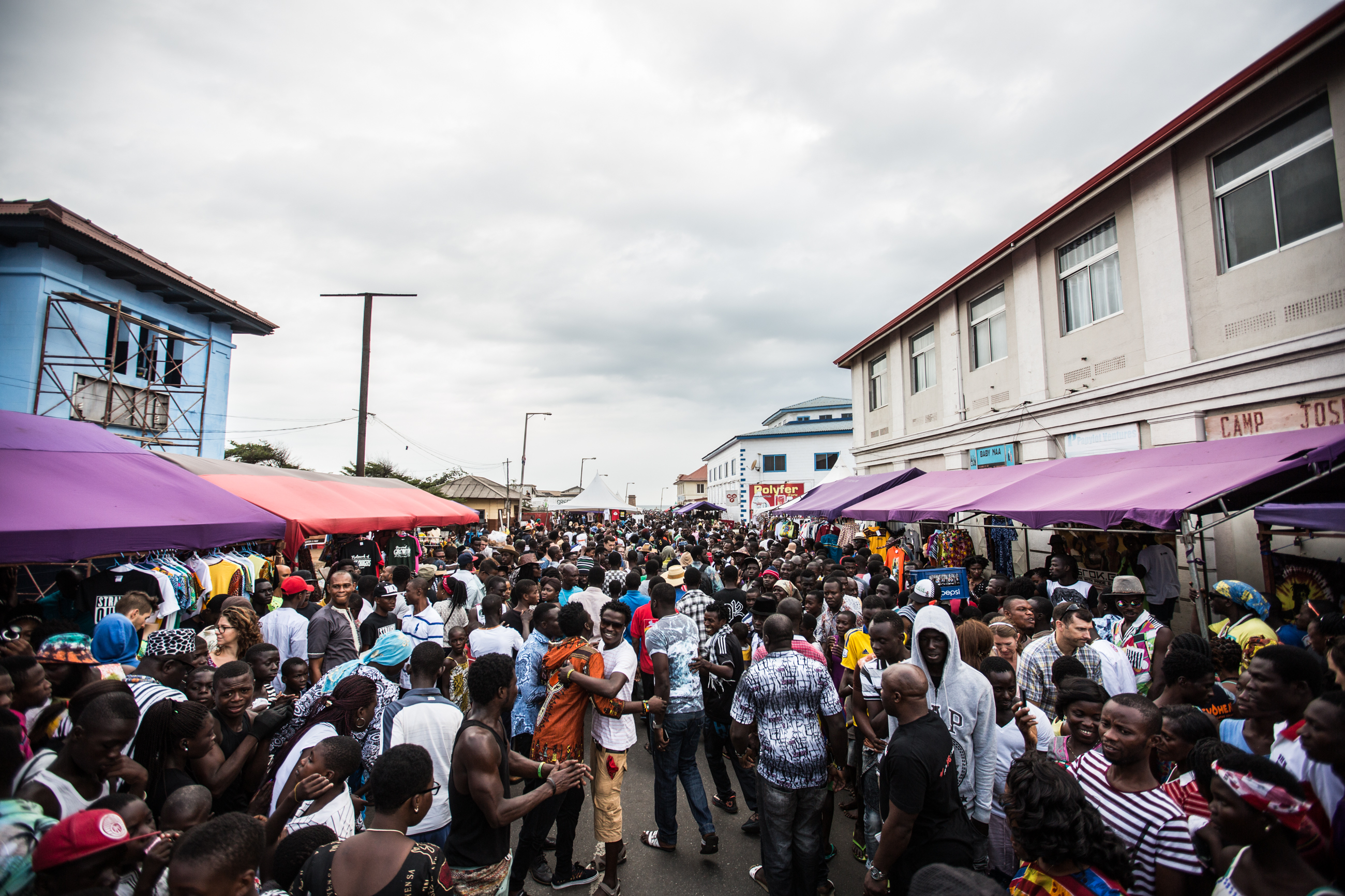 Over 10,000 people descended upon the streets of Jamestown neighbourhood for the Chale Wote Street Art Festival, more than in any in the previous 4 years of the festival. [Oualid Khelifi/Al Jazeera]