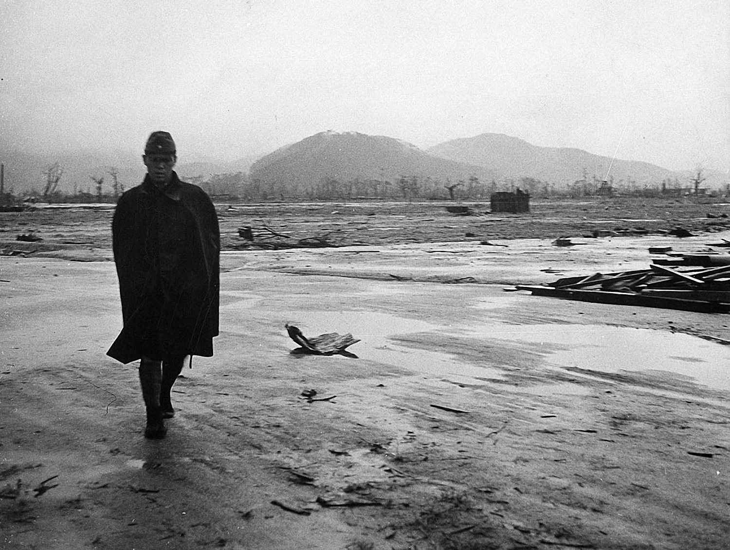 A Japanese Soldier Is Walking Through The Wasteland Of Hiroshima Which Was Destroyed By An