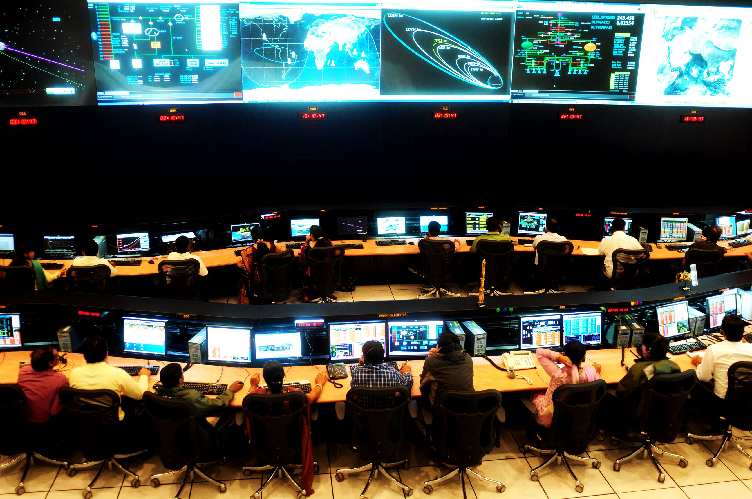 Indian scientists and engineers of the Indian Space Research Organization [ISRO] monitor the Mars Orbiter Mission [MOM] at the tracking centre, ISTRAC [Telemetry, Tracking and Command Network], at the Mars Orbiter Mission in Bangalore. [Jagadeesh Nv/EPA]