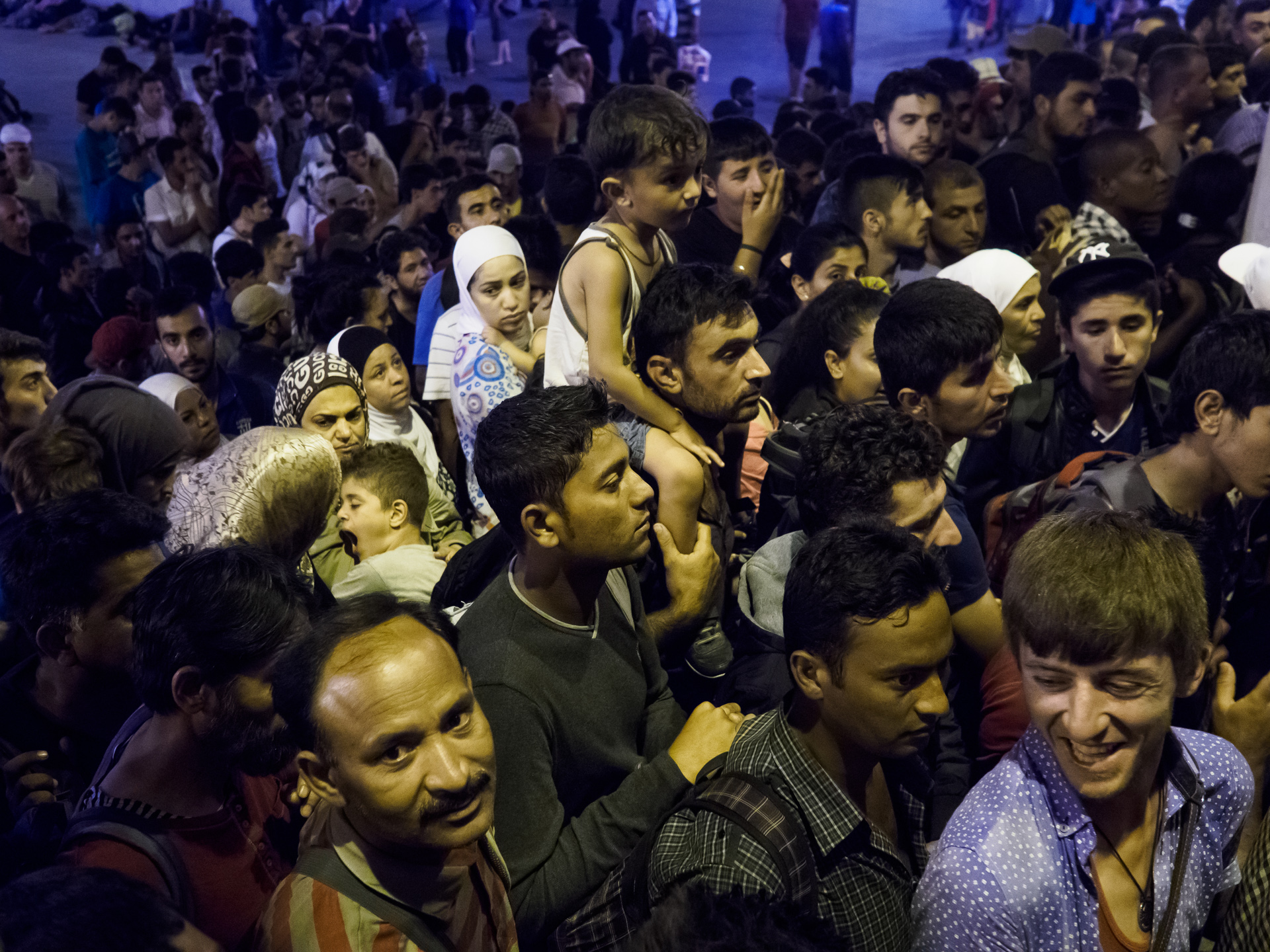 As refugees queued in front of the station's main door to be sure to have a space on the trains leaving for Germany, authorities announced they would not be able to board the trains. [Lazar Simeonov/Al Jazeera]