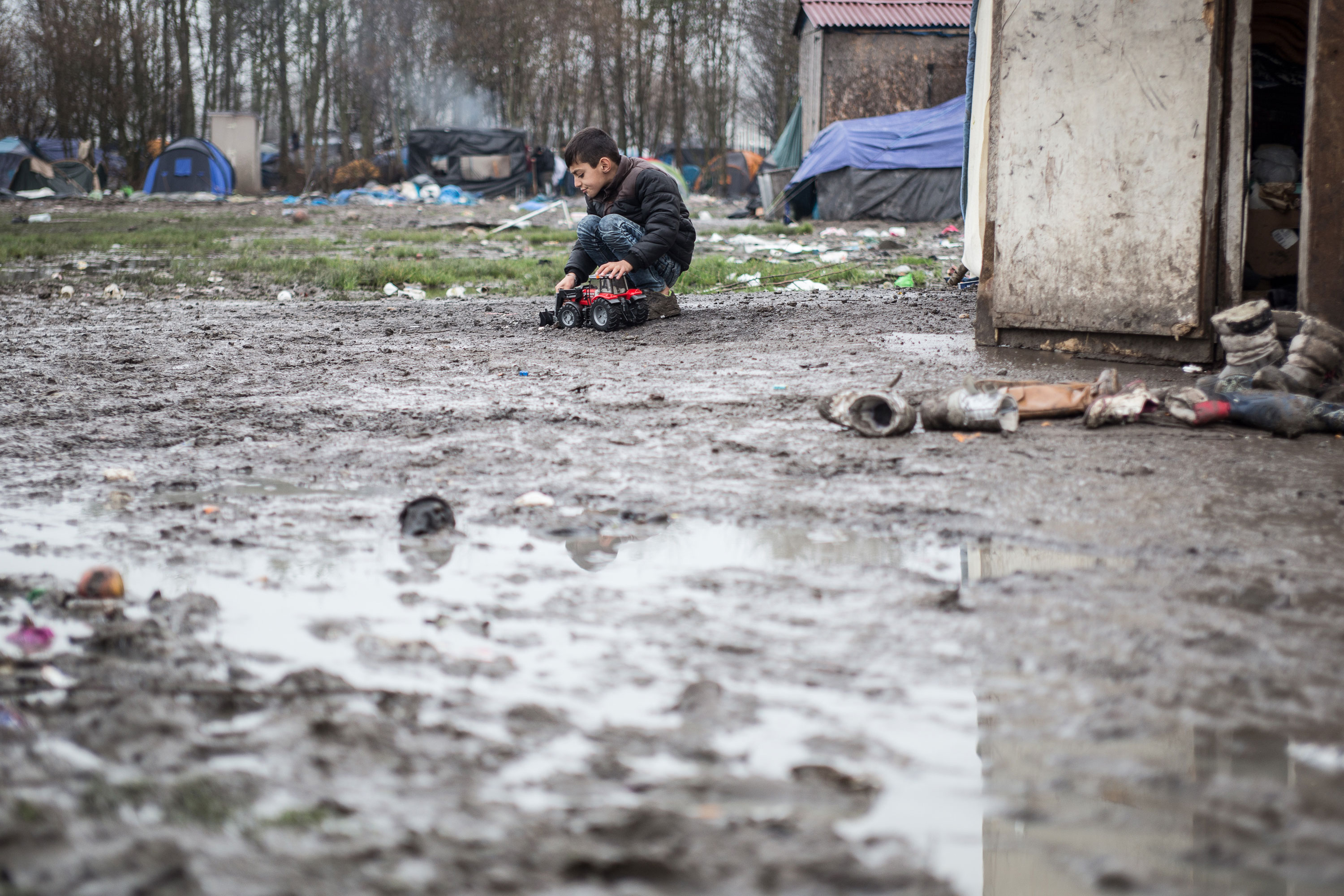 Single men comprise Dunkirk's population mostly, but there are approximately 200 children at the camp now. The children are especially susceptible to respiratory illnesses and diarrhoea caused by the cold and poor sanitary conditions. [Kelly Lynn Lunde/Al Jazeera]
