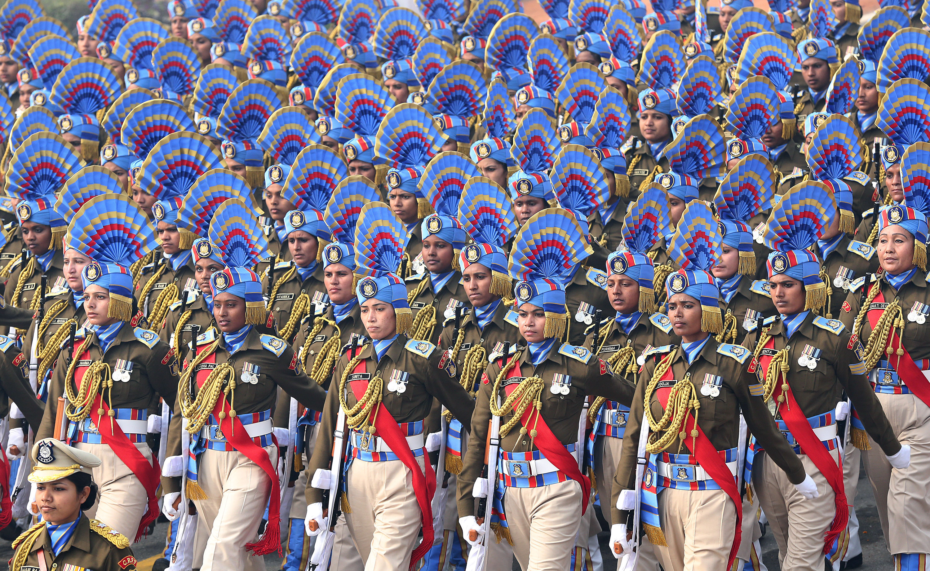 An all-female unit of the Central Reserve Police Force participates in the 67th Republic Day parade in New Delhi. [Harish Tyagi/EPA]