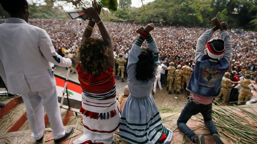 A day after announcing state of emergency, government alleges protests driven by foreign agents from Eritrea and Egypt.