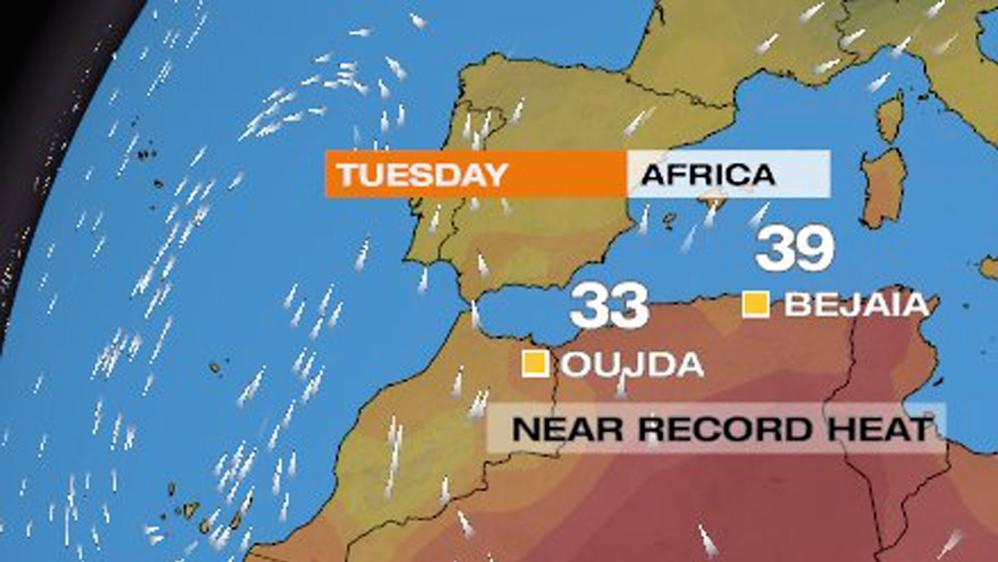 Eastern Atlantic storm system brings near-record heat to Algeria