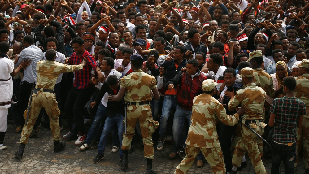 A state of emergency's been imposed and the government accuses foreign forces of instigating unrest.