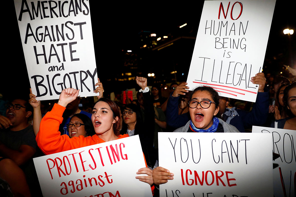 Demonstrators protest outside the Los Angeles City Hall after the election of Republican Donald Trump as president of the United States. [Patrick T. Fallon/Reuters]