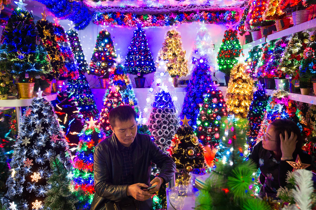 christmas trees at a stall in the festival arts section of arts of crafts inside the - Chinese Christmas Decorations