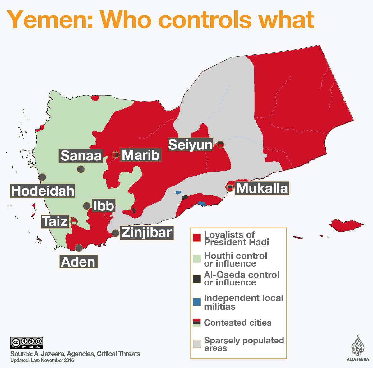 Mappa militare dello Yemen, aggiornata al gennaio 2017. Credits to: Al Jazeera.